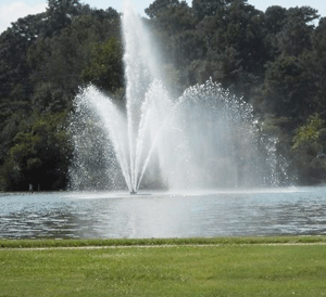 ity Lake fountain in Rocky Mount, North Carolina