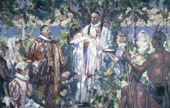 Baptism of Virginia Dare, born August 1587, in the Roanoke Colony of what is now North Carolina.
