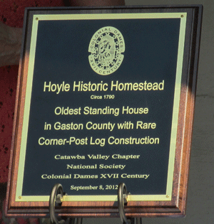 Plaque commemorating Hoyle Historic Homestead, presented by the Catawba Valley Chapter, September 8, 2012.