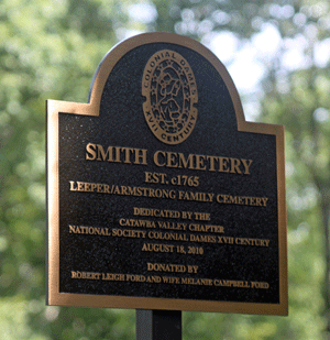 Colonial Dames XVII Century plaque marking the historic Smith Cemetery, August 18, 2010.